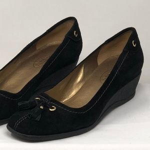 Talbots Wedge Heels, Black Suede Leather, Size 7.5